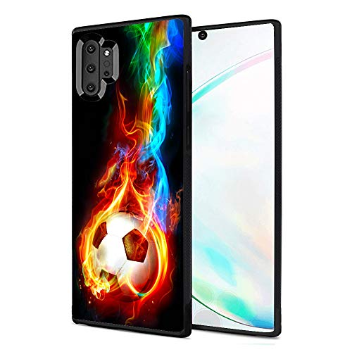 LINPO Case for Samsung Galaxy Note 10 Plus Personalized Design for Men and Women,Soft Black TPU Rubber and Anti-Slip Cover Case Fit for Samsung Galaxy Note 10 Plus- Flame Soccer Pattern