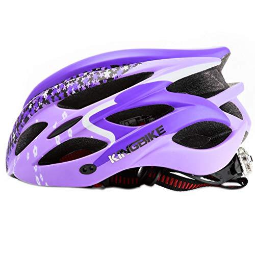 Ebestus King Bike Casco Bici, UltraLuce MTB Bici da Strada Bicicletta Ciclismo Casco di Sicurezza con Fanale Posteriore - Viola