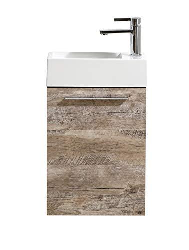 Badezimmer Badmöbel Madrid 40x22 cm Nature Wood - Unterschrank Schrank Waschbecken Waschtisch