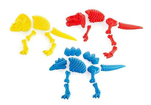 Top Race 3 Large Dinosaur Sand Molds, Dinosaur Fossil Skeleton Beach Toy Set
