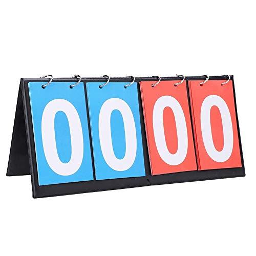 Fictory Flip-Marcador Marcador Deportivo portátil Contador de la Cuenta de Baloncesto Mesa de Ping Pong (4 Digit-Rojo + Azul)