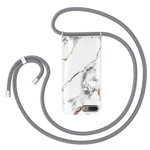 ZhinkArts Cadena para teléfono móvil compatible con Apple iPhone 7 Plus/8 Plus – Pantalla de 5,5 pulgadas – Collar de mármol (extraíble) funda con cordón para colgar en blanco – gris
