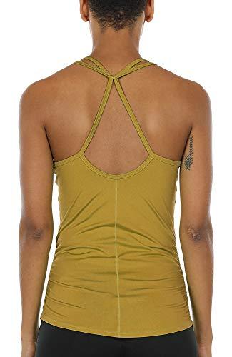 icyzone Damen Sport Yoga Tank Top - Fitness Gym Ärmelloses Shirt Trainings Top (XL, Ginger)