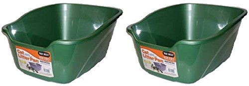 "(2 Pack) Van Ness Large High Sides Cat Litter Pan, Assorted Colors, 17.5"" X 15"" X 8.5"""