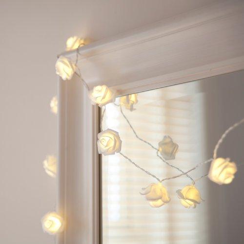 20er LED Rosen Lichterkette warmweiß batteriebetrieben