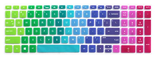 Silicone Keyboard Skin for 15.6' HP Pavilion X360 15-br075nr, HP Envy x360 15m-bp 15m-bq, HP Spectre x360 15-ch011dx, HP Pavilion 15-cb 15-cc 15-cd 15-bw 15-bs & 17.3' HP 17m-ae 17-bs Series - Rainbow