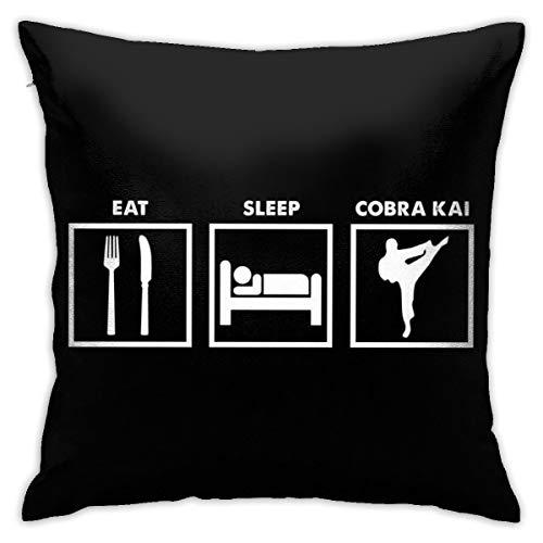 HONGYANW Eat Sleep Cobra Kai - Funda de almohada gráfica, impresión de doble cara, funda de almohada con cremallera oculta, hermosa funda de almohada de 45,7 x 45,7 cm