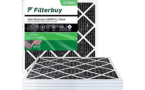 FilterBuy 20x20x1 Air Filter MERV 8 (Allergen Odor Eliminator), Pleated HVAC AC Furnace Filters with Activated Carbon (4-Pack, Black)