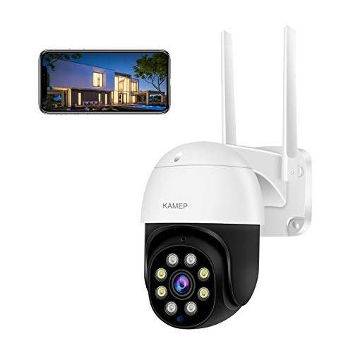 CCTV Camera Security Outdoor Camera 1080P HD Pan Tilt 360° WiFi Home Surveillance with IP66 Waterproof Motion Detection Auto Tracking Night Vision 2-Way Audio Compatible with Alexa/IOS/Android KAMEP