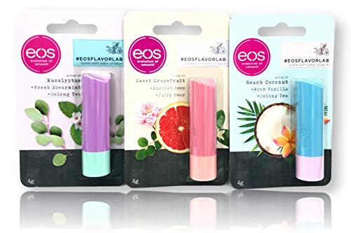 eos Evolution of Smooth Lip Balm Set - 3 Limited Edition Flavour Sticks Beach Coconut/Sweet Grapefruit/Eucalyptus