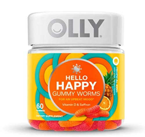 Olly Hello Happy Gummy Worms Mood Vitamins! 60 Gummies Tropical Zing Flavor! Formulated Vitamin D & Saffron! Support A Positive and Balanced Mood! Choose Your Pack! (1 Pack)