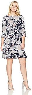 فستان نسائي من Sandra Darren قطعة واحدة مقاس إضافي 3/4 كم منتفخ مع كشكشة
