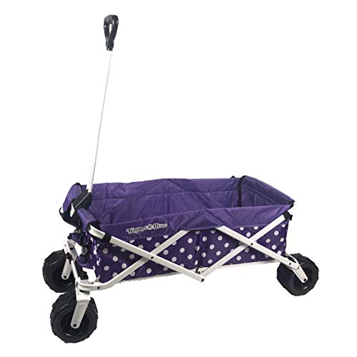 WagonsRus Limited Edition AllTerrain Collapsible Folding Utility Wagon Beach Outdoor Camping Sports Purple Polka Dot