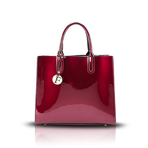Tisdaini Donna Borse a mano vernice moda Alta capacità Borse a spalla Borse a tracolla Borse Tote borse desigual Vino rosso