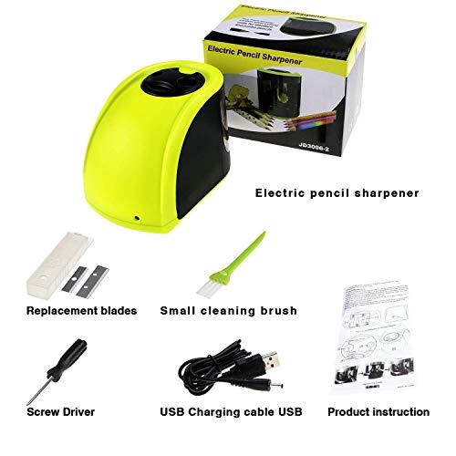 Yangangjin Elektrische potloodslijper, professionele potloodslijper, stroomvoorziening via USB of batterij met 2 gaten voor potloden en penselen voor kantoren, school en thuis