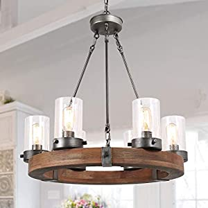 LNC Farmhouse Chandelier Wood Round Wagon Wheel 6-Light Fixture with Seeded Glass Shades for Dining & Living Room, Bedroom, Kitchen and Foyer, Brown