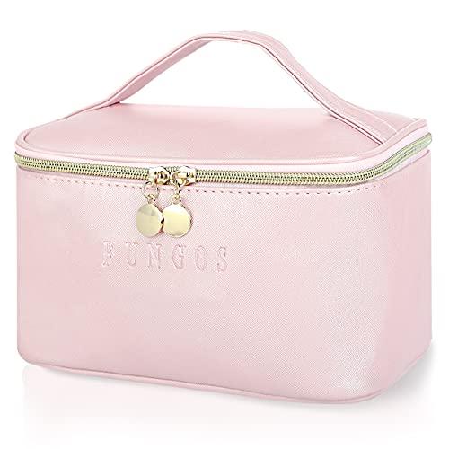 FUNGOS Makeup Bag, Large Cosmetic Bag for Women PU Leather Makeup Bag Organizer Travel Makeup Bags with Handle Waterproof Toiletry Bag Portable Make Up Bag Pink