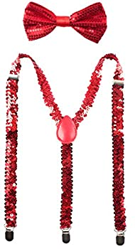 Best red sequin suspenders and bow tie Reviews