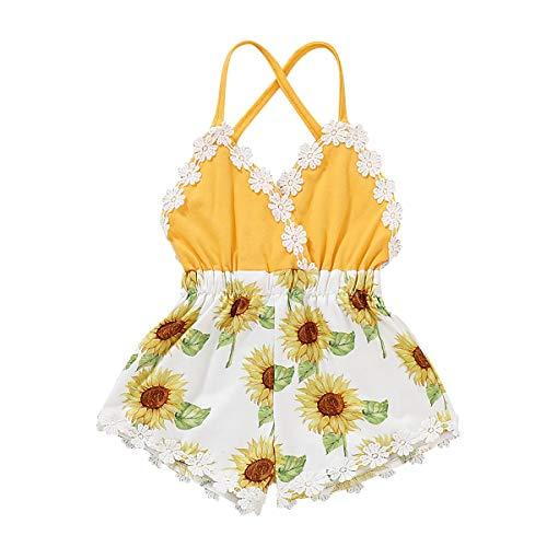 Puseky Jumpsuit Coton Jaune bébé Fille Spaghetti Straps Backless Romper Débardeurs (Color : Yellow, Size : 18-24M)