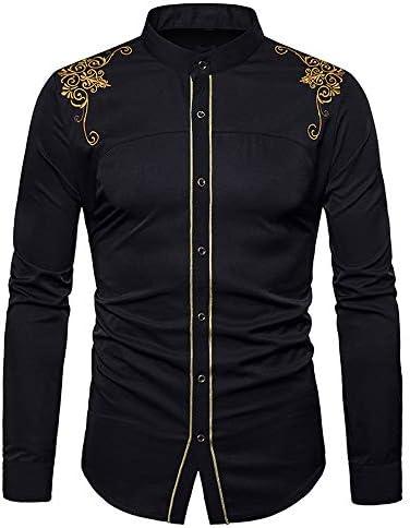 VPASS Hombre Camisas,Camisas de Vestir Manga Larga Camisas Formales Casual Color Sólido Bordado Traje Impresión Primavera Negocios Camisa de Moda Slim ...