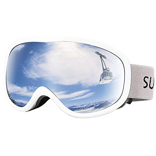 Supertrip Snow Ski Goggles Anti-Fog 100% UV Protection Snowboard Goggles Double Lens Over The Glasses Skiing for Men Women Youth(White)