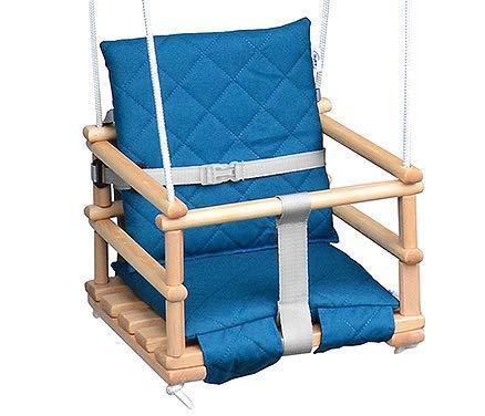 Kinderschaukel Babyschaukel Holz Babywippe Zimmerschaukel Indoor Baby Schaukel Stoff Babysitz Baby Schaukel zum Aufhängen 4 in 1 (Natural/Türkis)