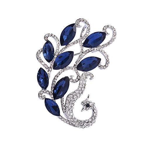 Trendy Golden Silver Color Dark Blue Crystal Phoenix Broches Para Las Mujeres Accesorios De Joyería De Traje De Boda Gifs Únicos-Plata