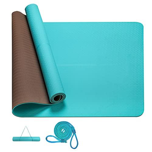 PROIRON Tappetino da Yoga 800mm Antiscivolo per Fitness Pilates Tappetini Yoga ProfessionaleVerde + Brown 1830×800×6mm Antiscivolo e Grande