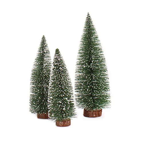 LMMVP Décoration de Bureau d'arbre de Noël, Mini Bâton d'arbre de Noël Cèdre Blanc Petit Sapin de Noël de Bureau (Vert, 30CM)