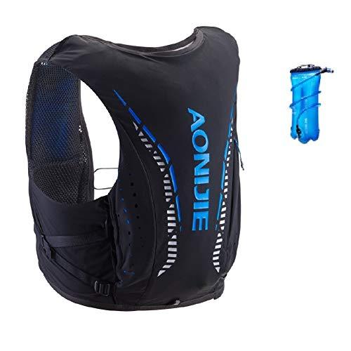 Mochila de hidratación Aonijie ligera y transpirable de 12 l al aire libre Trail Marathoner Running Cycling Race Hydration Chaleco con vejiga de agua (negro+1,5 L, S/M)
