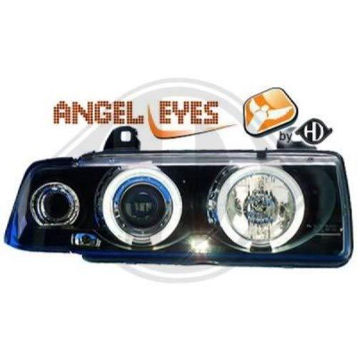 in. pro. 1213780 haute définition Head Set LED Angel Eyes avec anneaux et indicateur, noir transparent