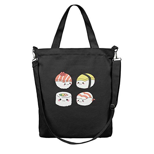 Womens Four-cute-sushi-babies- Multifunctional Reusable Canvas Shopping Bags Paper Bulk Apply To Suitable with Office