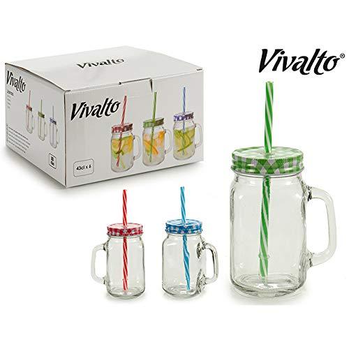Jean Vallier Trinkgläser mit Deckel 6er Pack Henkel Strohalm Trinkhalm Trinkglas Bunt… (430 ml)