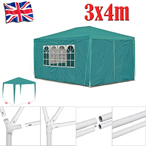 Yiyai 3x4 Garden Waterproof Gazebo BBQ Beer Tent Canopy with 4 Side Panels Removal Anti-UV 120g PE Marquee with Powder Coated Steel Frame
