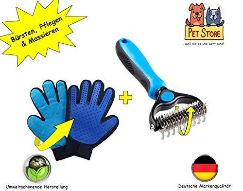 PetStore Pflege-Set Fellpflege-Handschuh + Fell-Bürste | Hunde-Handschuh Unterfell-Bürste Katzen-Handschuh Katzen-Bürste Hunde-Bürste Tierhaar-Entferner Haar-Entferner Fellhandschuh Fellbürste