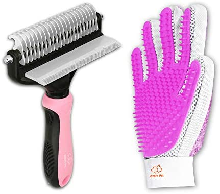 Pet Grooming Kit for Dog and Cat with 2 Sided Grooming Brush and 2 Sided Grooming Glove for product image