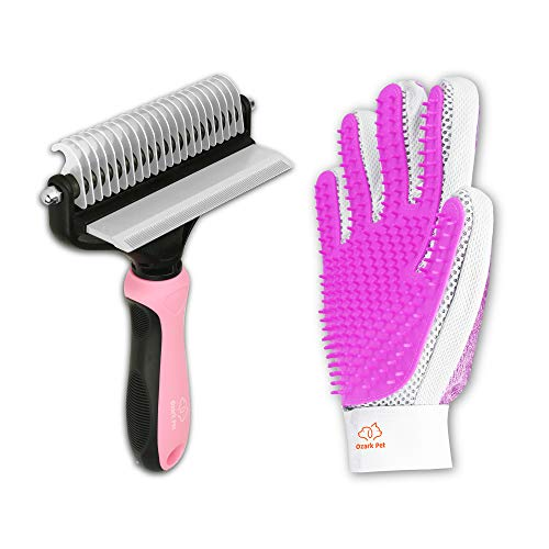 Ozark Pet  Pet Grooming Kit for Dog and Cat with 2 Sided Grooming Brush and 2 Sided Grooming Glove for DeShedding DeMatting and Cleaning All Pet Hair Effectively Large Pink
