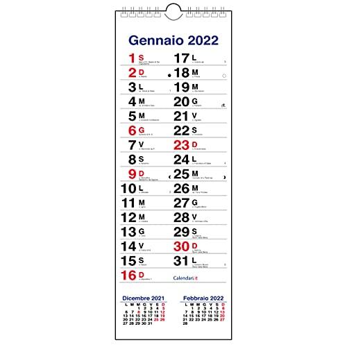 Calendario 2022 da muro OLANDESE SLIM stretto con 3 mesi, santi e lune - 15x42 cm