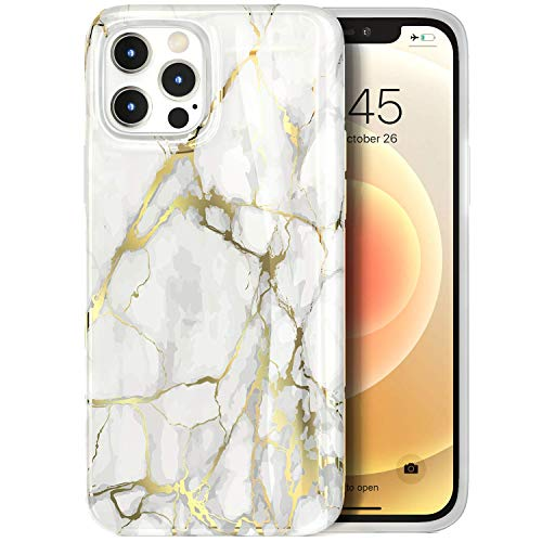 Tenpon iPhone 12 Pro Max Case 6.7' 2020, Ultra Slim Thin Glossy Soft Marble TPU Scratch-Proof Drop Protection Phone Covers, Compatible with iPhone 12 Pro Max Cute Design Stylish Case