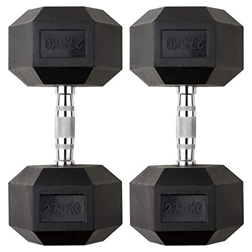 Mirafit 55kg Dumbbell Hex Weight Set - 2x 27.5kg
