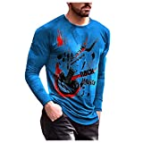 Tops for Men Colorful Abstract Curve Print Long Sleeve Fashion Round Neck T-Shirt Autumn Casual Lightweight Blouse Tee (14 Blue, M)