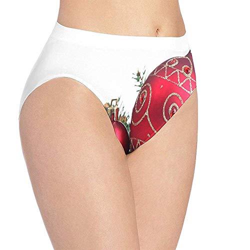 Ropa interior para mujer Decoraciones navideñas rojas Impreso Bikini de secado rápido Braguita Hipster breve, M
