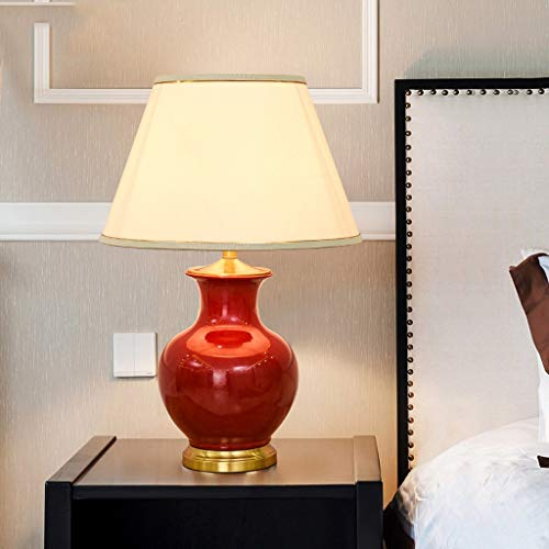 JYDQM American Simple Cerámica Lámpara de Mesa de Cobre Dormitorio Luz de Cama Lámpara de Noche Red Boda Regalo Sala de Estar Estudio Lámpara de atenuación (Color : Red)