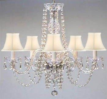 Chandelier Made with Swarovski Crystal! Authentic All Crystal Chandelier and White Shades H25' W24'