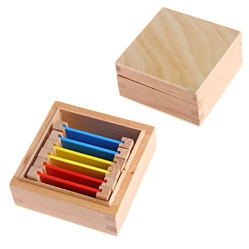 Montessori - Giocattolo educativo per pedagogia Montessori sensoriale, scatola di colori in legno naturale per neonati, carte di colore primario