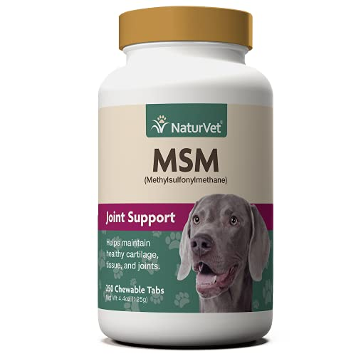 NaturVet Methylsulfonylmethane Joint Support Dog Supplement – Helps Support Healthy Cartilage, Tissue and Joints in Dogs – Includes MSM, Sulfur-Rich Compounds – 250 Ct.