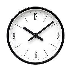 COMODO CASA Wall & Desk Clock- Metal Black Frame-Glass Cover-Non Ticking-Quartz Sweep-Silent 6 inch Retro Clock,White Type D