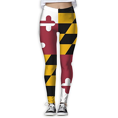 EWDVqqq Girl Yoga Pant Maryland of Flags High Waist Fitness Workout Leggings Pants White