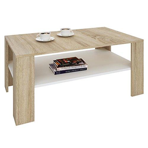 CARO-Möbel Couchtisch Wohnzimmertisch ANIMO in Sonoma Eiche weiß mit Ablage, 100 x 60 cm