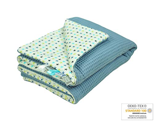 MoMika Babydecke aus hochwertiger Waffelbaumwolle | 75 x 100cm | Baby Kuscheldecke| 100% Baumwolle |